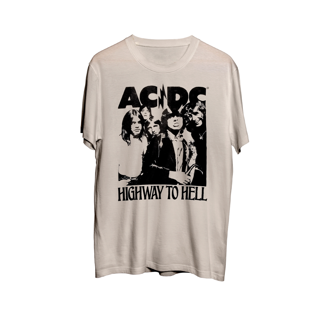 AC/DC Highway To Hell Distressed Logo Off White T-Shirt