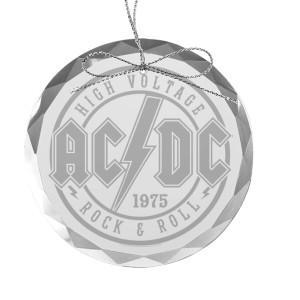 High Voltage Rock & Roll Round Laser-Etched Glass Ornament