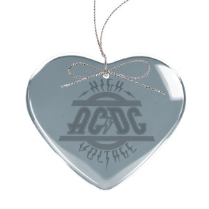 High Voltage Heart Laser-Etched Glass Ornament
