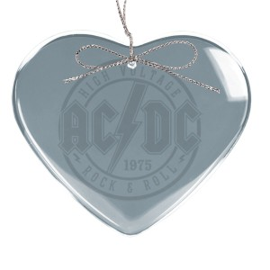 High Voltage Rock & Roll Heart Laser-Etched Glass Ornament