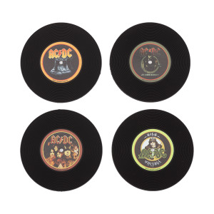 AC/DC Silicone LP Coaster Set