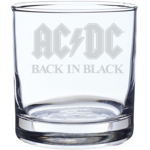 Back In Black Laser-Etched Whiskey Glass