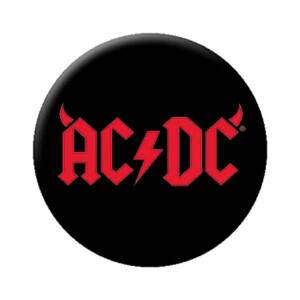 """AC/DC Logo with Horns 1.25"""" Button"""