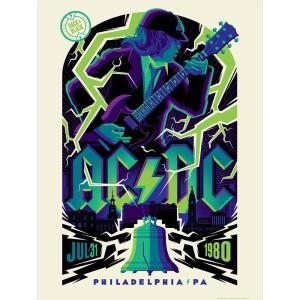 AC/DC JULY 31, 1980 PHILADELPHIA, PA POSTER MIDNIGHT VARIANT