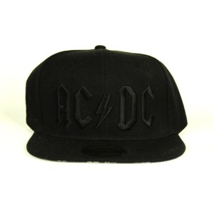 Back In Black On Black 3D Logo Snapback Hat
