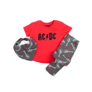 AC/DC Red Band Logo Shirt and Bib Set