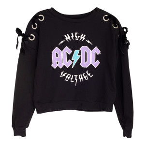 Ladies High Voltage Black Crewneck Sweatshirt