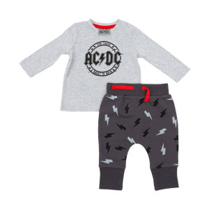 AC/DC For Those ABout To Rock Grey Pajama Set