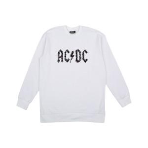 AC/DC White Crewneck with Black Sparkle Logo