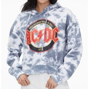 AC/DC High Voltage Tie Dye Ladies Crop Hoodie