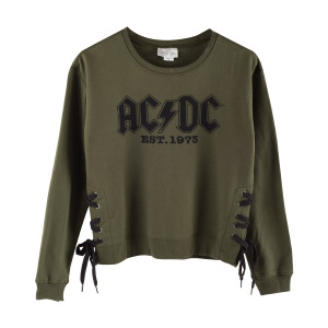 AC/DC Black Logo 1973 Green Sweatshirt