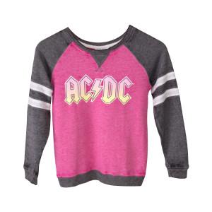 AC/DC Pink Logo Juniors Pink/Grey Sweatshirt