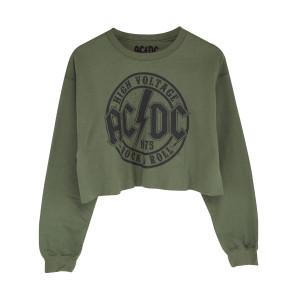 AC/DC High Voltage Stamp Green Crop Sweatshirt