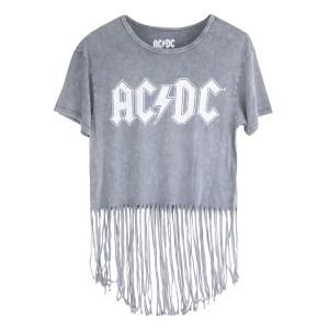 AC/DC Juniors Fringe Grey Logo T-shirt