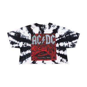 AC/DC Tie Dye Rock 'n Roll Train Crop Top
