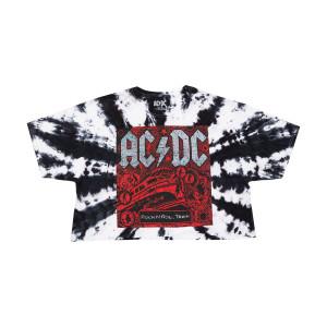 AC/DC Tie Dye Rock 'n Roll Train Crop Top