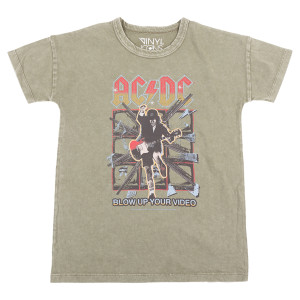 AC/DC Blow Up Your Video Olive Green Kids Tee