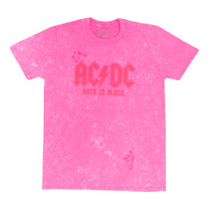 AC/DC Neon Pink Back In Black Distressed T-Shirt