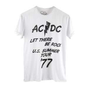 AC/DC Let There Be Rock Mens White T-Shirt