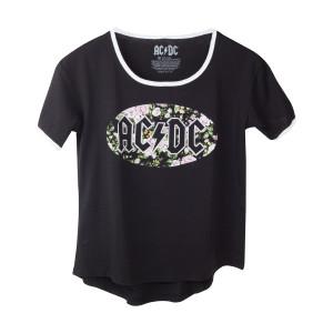 AC/DC Black Flower Ringer T-Shirt
