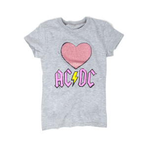 AC/DC Ladies Love/Heart with Yellow Thunderbolt T-Shirt