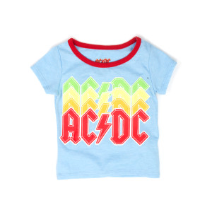 AC/DC 4 Color Logo Red Neck Kids Grey T-Shirt
