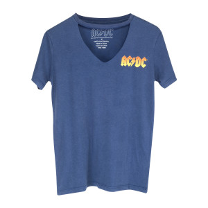 AC/DC Orange Logo Blue V-Cut T-Shirt