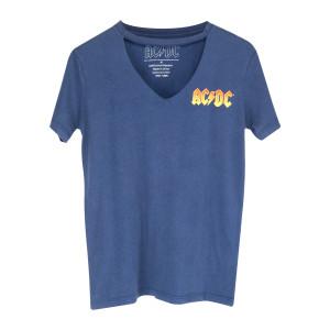 AC/DC Orange Logo Blue V-Cut T-Shirt