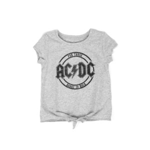 AC/DC For Those About to Rock Glitter Circle Logo Grey Kids T-Shirt