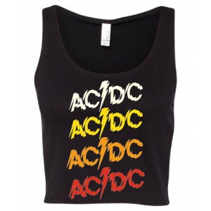 AC/DC Women's Powerage Sleeveless Repeating Logo Crop Top