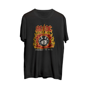 AC/DC Black Highway To Hell Flames T