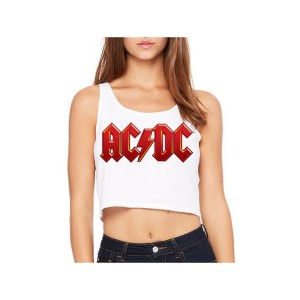 AC/DC Red Logo Sleeveless Crop Top