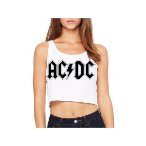 AC/DC Diamond Logo Sleeveless Crop Top