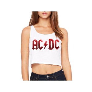 AC/DC Red Grunge Logo Sleeveless Crop Top
