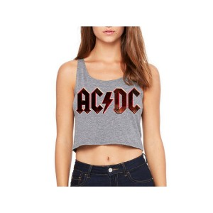 AC/DC Black Grunge Logo Sleeveless Crop Top
