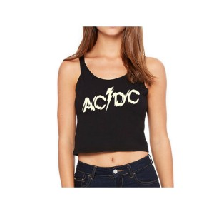 AC/DC Splintered Logo Sleeveless Crop Top
