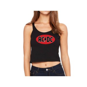 AC/DC Oval Logo Sleeveless Crop Top