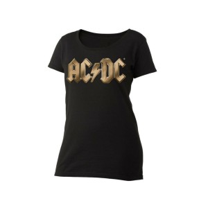 AC/DC Gold Logo Women's Scoop Neck T-Shirt