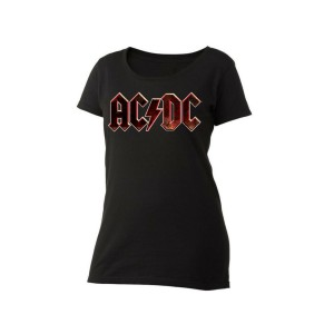 AC/DC Black Grunge Logo Women's Scoop Neck T-Shirt