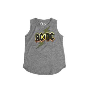 AC/DC Yellow Logo Lightning Bolt Grey Kids Tank