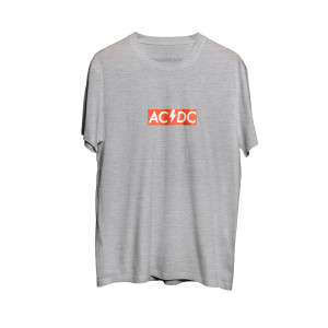 AC/DC Grey Red Logo T