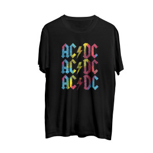 AC/DC Multicolored Stacked Logo Black T-shirt