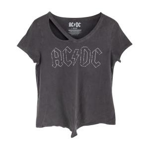 AC/DC Grey Logo Outline Cut Out Neck Ladies T-Shirt