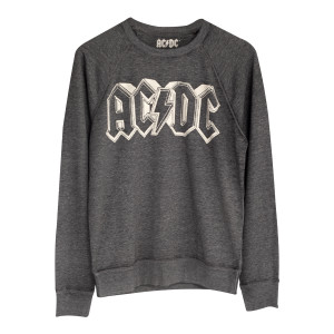 AC/DC 3D Block Letter Microterry Grey Longsleeve T-Shirt