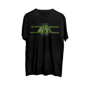 AC/DC Neon Green & Purple High Voltage Logo Black T-Shirt