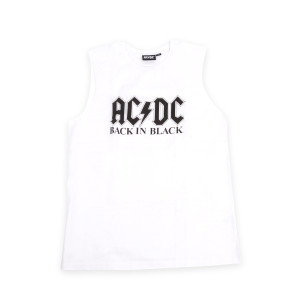 AC/DC Back In Black White Sleeveless Tank