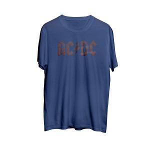 AC/DC Grey Band Logo Blue Athletic T-Shirt
