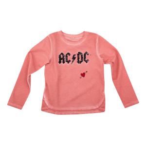 AC/DC Kids Sequin Logo Pink Long Sleeve T-shirt