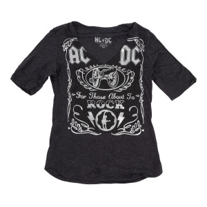 AC/DC Ladies For Those About to Rock Silver Foil V-neck T-shirt