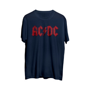 AC/DC Red Band Logo Blue Athletic T-Shirt